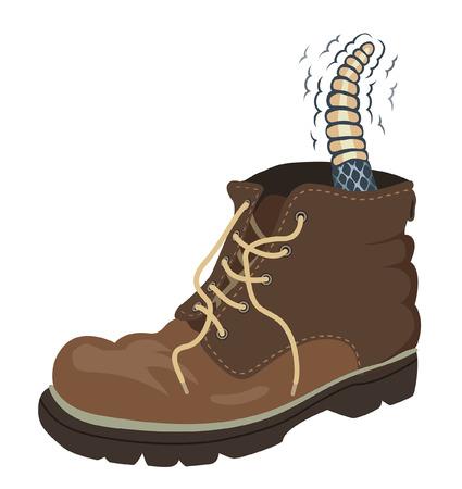 serpiente de cascabel: Ilustración vectorial editable de una serpiente de cascabel dentro de una bota para caminar