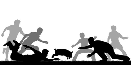 dodge: Editable vector illustration of people trying to catch a slippery greased piglet
