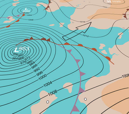 Editable vector illustration of an angled generic weather map showing a storm depression Vector
