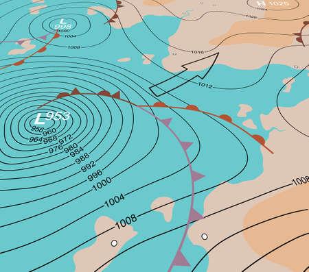 meteo: Illustrazione vettoriale modificabile di un angolo mappa meteo generica che mostra una depressione tempesta