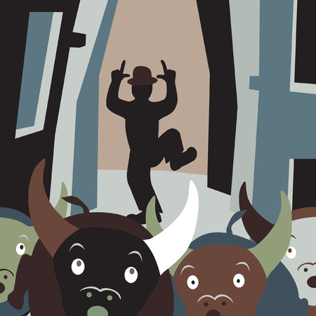 role reversal: Editable vector cartoon illustration of bulls running away from a man in a street festival Illustration
