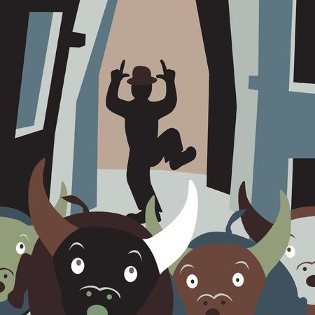 Editable vector cartoon illustration of bulls running away from a man in a street festival Illustration