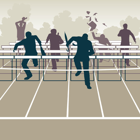 obstacles: Editable vector illustration of businessmen racing to the finish over hurdle obstacles