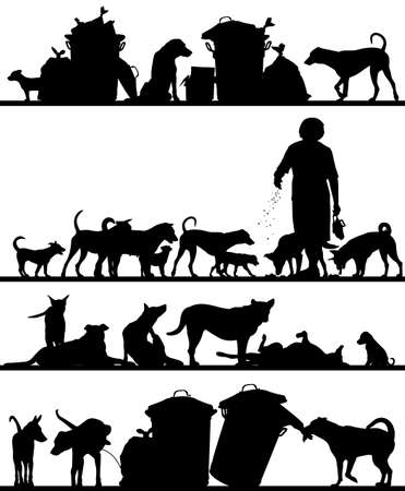 foreground: Set of editable vector foreground silhouettes of street dogs in Bangkok with all figures as separate objects