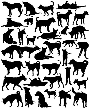 dog silhouette: Collection of editable vector silhouettes of a motley group of Bangkok street dogs