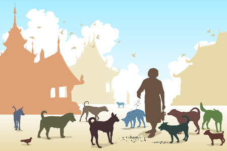 stray: Editable vector illustration of a woman feeding stray dogs in a Buddhist temple where many abandoned pets end up