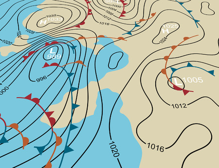 Editable vector illustration of an angled generic weather system map Vector