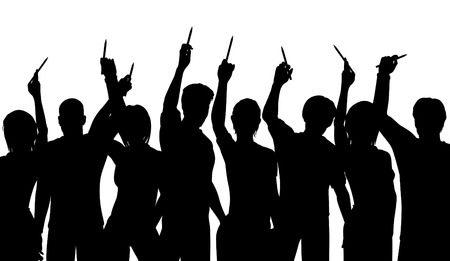 freedom of expression: Editable vector silhouettes of people holding up pencils in support of freedom of expression with all figures as separate objects