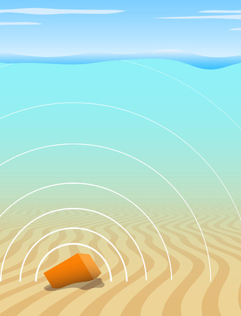 transmitting: Editable vector illustration of a black box recorder transmitting a signal from the seabed after an aircraft disaster