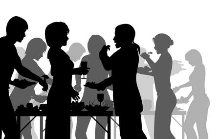 buffet dinner: EPS8 editable vector silhouettes of people enjoying a buffet with all figures as separate objects
