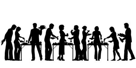 dinner party: EPS8 editable vector silhouettes of people enjoying a buffet with all elements as separate objects