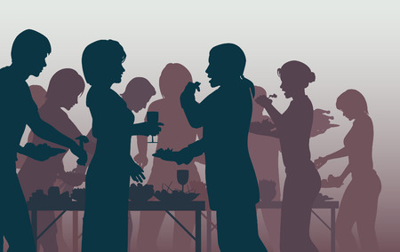 dinner party: EPS8 editable vector illustration of people enjoying a buffet with all figures as separate objects