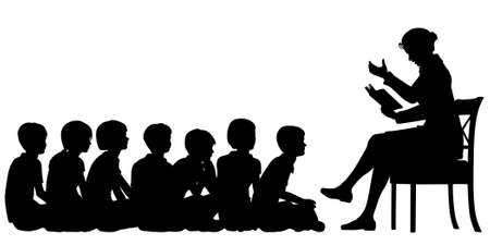 storytelling: EPS8 editable vector silhouettes of a female teacher reading a story to her pupils with all figures as separate objects