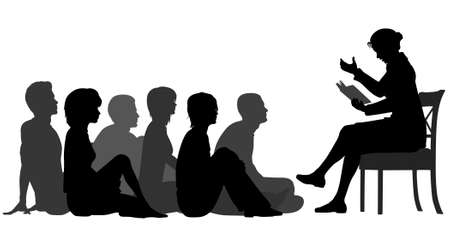 attentive: editable vector silhouettes of a female teacher reading a story to a group of adults sitting on the floor