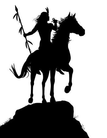 guerrero: EPS8 silueta vectorial editable de un guerrero indio americano nativo que monta un caballo con figuras como objetos separados
