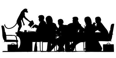chaired: EPS8 editable vector silhouette of a business meeting chaired by a monkey with all figures as separate objects