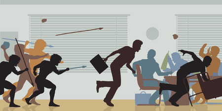 clash: Editable vector color cutouts of cavemen attacking a business meeting