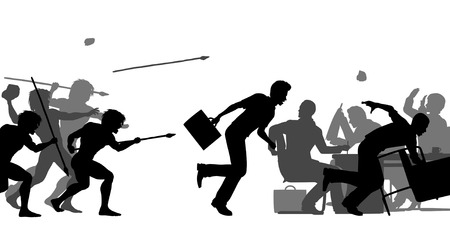 interruption: Editable vector silhouettes of cavemen attacking a business meeting with all elements as separate objects
