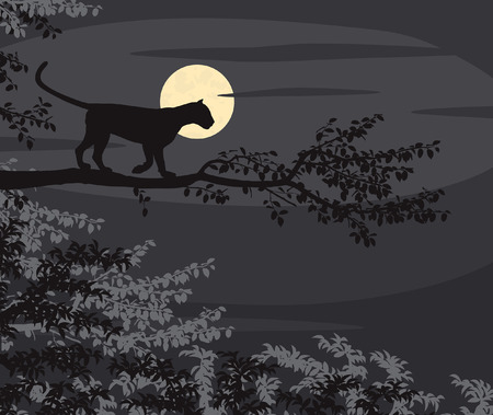 EPS8 editable vector cutout illustration of a leopard on a tree branch silhouetted against the moon at night Vector