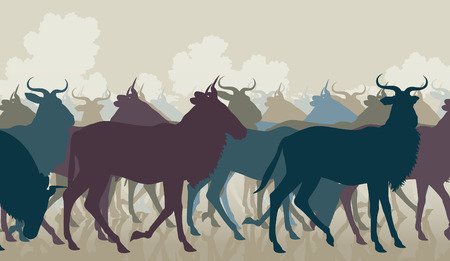 herbivore: EPS8 editable vector cutout illustration of a herd of adult wildebeest