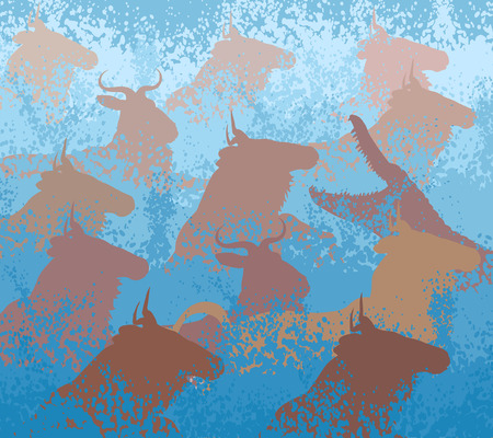 struggle: EPS8 editable vector cutout illustration of wildebeest on migration crossing a large river with a crocodile Illustration