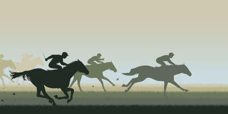 Horses: EPS8 editable vector cutout illustration of a horse race with all horses and riders as separate objects Illustration