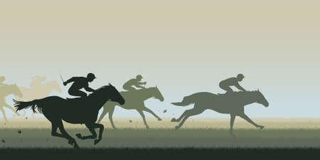 caballo jinete: Ilustración vectorial editable EPS8 recorte de una carrera de caballos con todos los caballos y jinetes como objetos separados