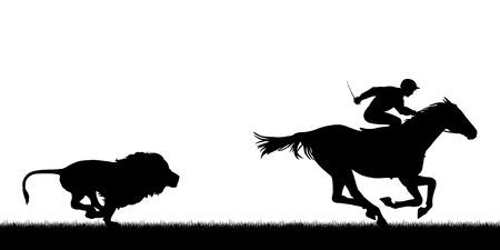 leones: Ilustración vectorial editable EPS8 de un león macho persiguiendo un caballo y jinete con todas las figuras como objetos separados Vectores