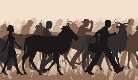 herd: EPS8 editable vector cutout illustration of a mixed herd of wildebeest and people commuting or migrating