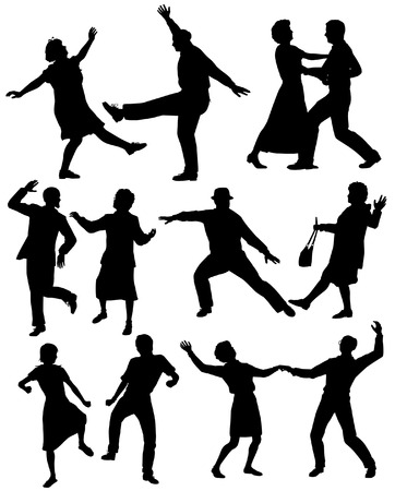happy mature couple: Set of editable vector silhouettes of elderly couples dancing together with all figures as separate objects