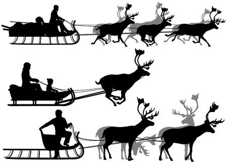 trotando: Conjunto de eps8 siluetas vectoriales editables de personas en trineos tirados por renos con todas las figuras como objetos separados