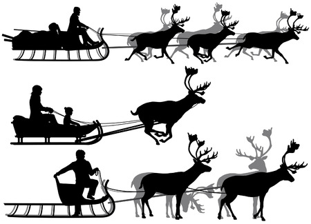 draughts: Set of eps8 editable vector silhouettes of people in sleighs pulled by reindeer with all figures as separate objects Illustration