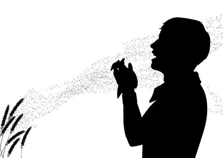 hayfever: editable silhouette of pollen drifting from grass flowers with a man suffering from hay fever sneezing