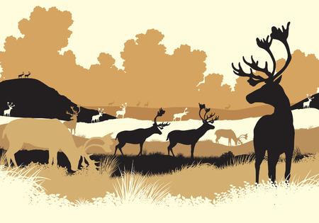 reno: Ilustraci�n editable de reno o carib� en movimiento a trav�s de un paisaje de tundra con todas las figuras como objetos separados