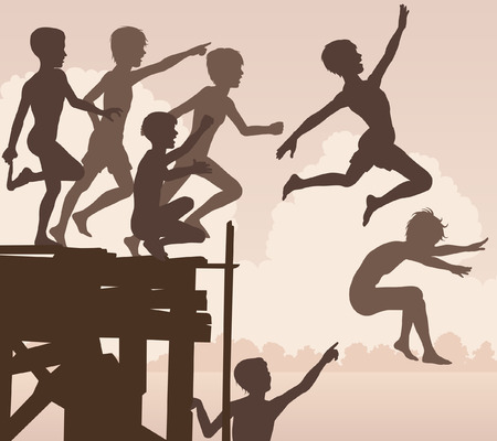after school: EPS8 editable vector cutout illustration of children jumping off a wooden jetty