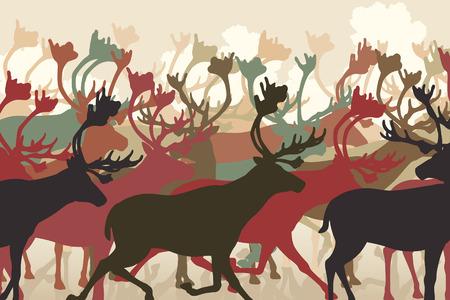 herd deer: EPS8 editable vector illustration of a reindeer or caribou herd migrating