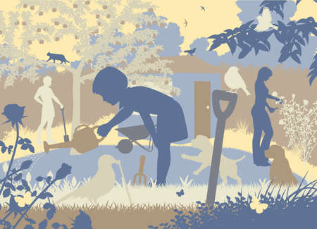 gardens: EPS8 editable vector cutout illustration of a family gardening with two puppies and wildlife