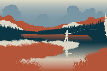 pesca: Ilustración vectorial editable EPS8 de un pescador en un paisaje salvaje con el hombre como un objeto independiente