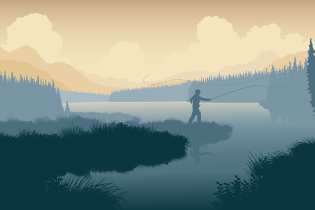 fishing lake: EPS8 editable vector illustration of an angler in a wild landscape with the man as a separate object