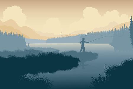 hombre pescando: Ilustraci�n vectorial editable EPS8 de un pescador en un paisaje salvaje con el hombre como un objeto independiente