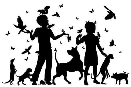 meerkat: EPS8 editable vector silhouettes of a young boy and girl surrounded by animals with all figures as separate objects Illustration