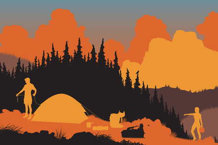 wilderness area: EPS8 editable vector illustration of a couple setting up camp in a wilderness area at dusk