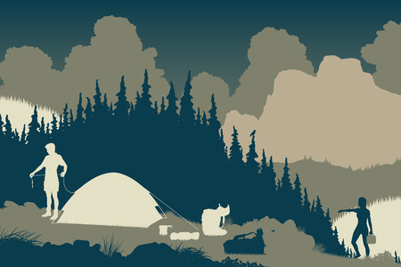 couple hiking: EPS8 editable vector illustration of a couple setting up camp in a wilderness area Illustration