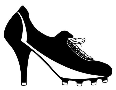 football shoe: illustration of a high-heeled ladies football boot Illustration