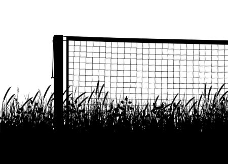 overgrown: editable vector silhouette of a tennis net on a court of overgrown grass