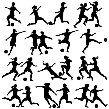 football kick: Set of eps8 editable vector silhouettes of women playing football with all figures as separate objects Illustration