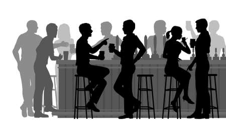 barra de bar: Recorte ilustración EPS8 vectorial editable de gente bebiendo en un bar ocupado con todas las figuras como objetos separados