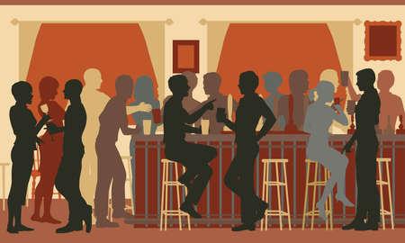 Recorte ilustración EPS8 vectorial editable de gente bebiendo en un bar muy concurrido por la noche