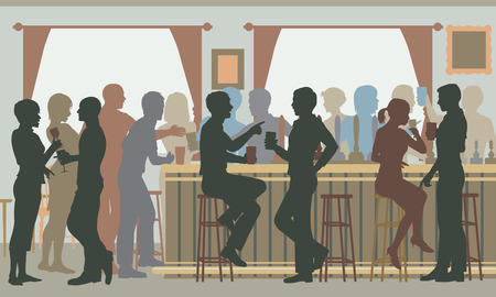 men bars: EPS8 editable vector cutout illustration of people drinking in a busy bar in daylight