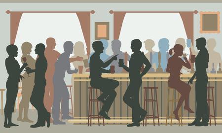 Recorte ilustración EPS8 vectorial editable de gente bebiendo en un bar muy concurrido durante el día Vectores